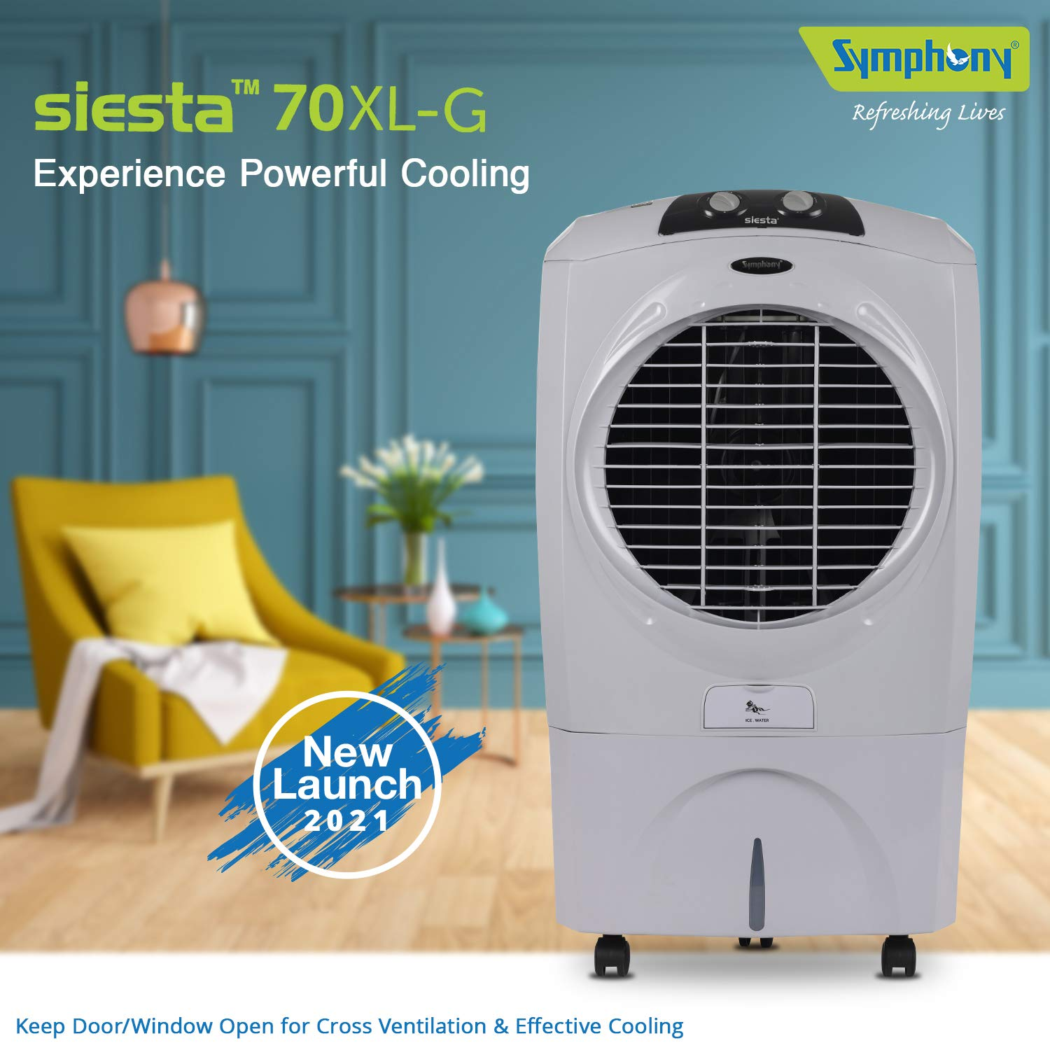 Symphony SIESTA 70 XL Powerful Desert Air Cooler 70-litres With Powerful Fan, 3-Side Honeycomb Pads, Multistage Air Purification & Low Power Consumpti