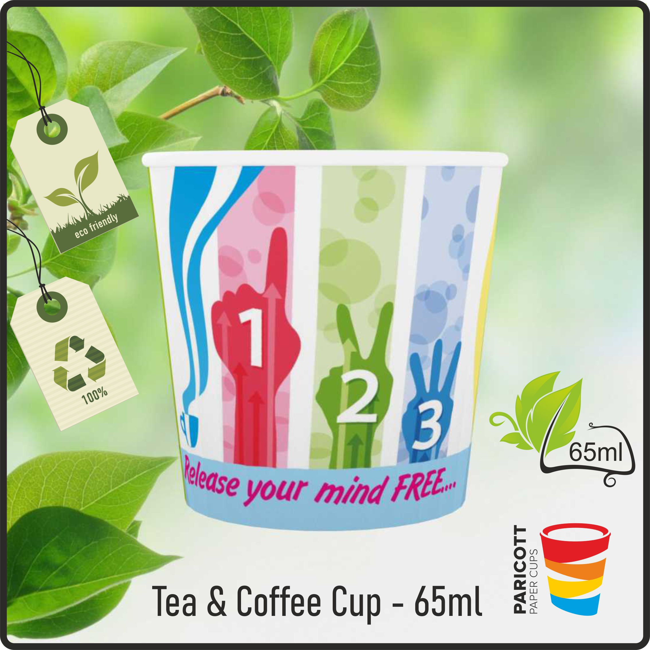 65ml Multi Color Hot Break Paper Cups (100)