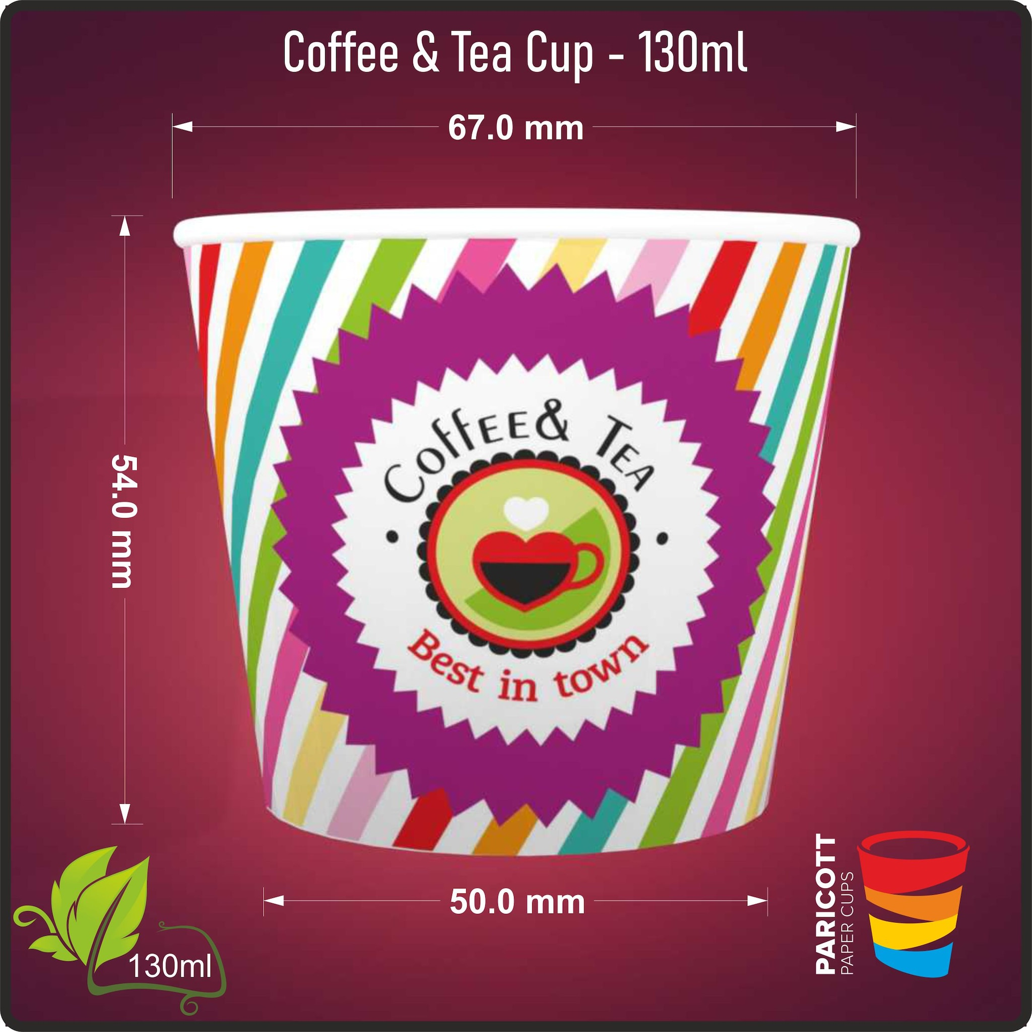 130ml Multi Color Best In Town Paper Cups (100)