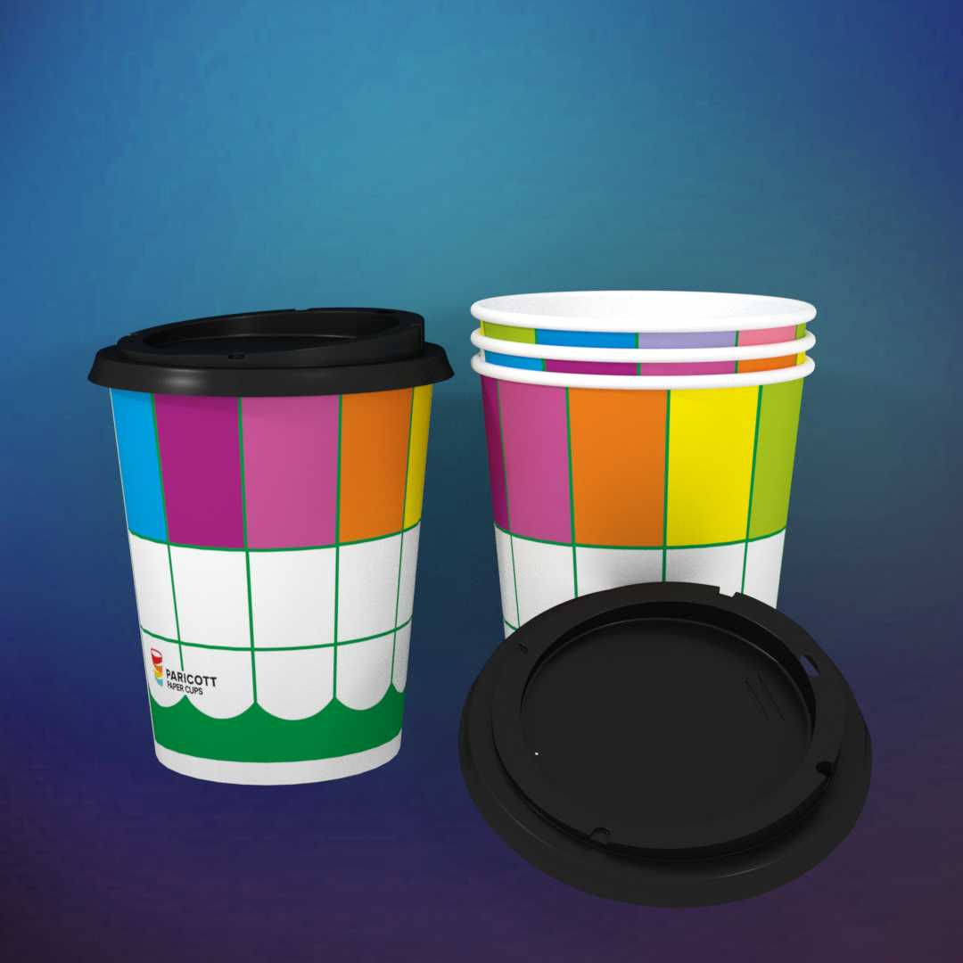 200ml Multi Color Square PaperCup With Sipper Lids (200)