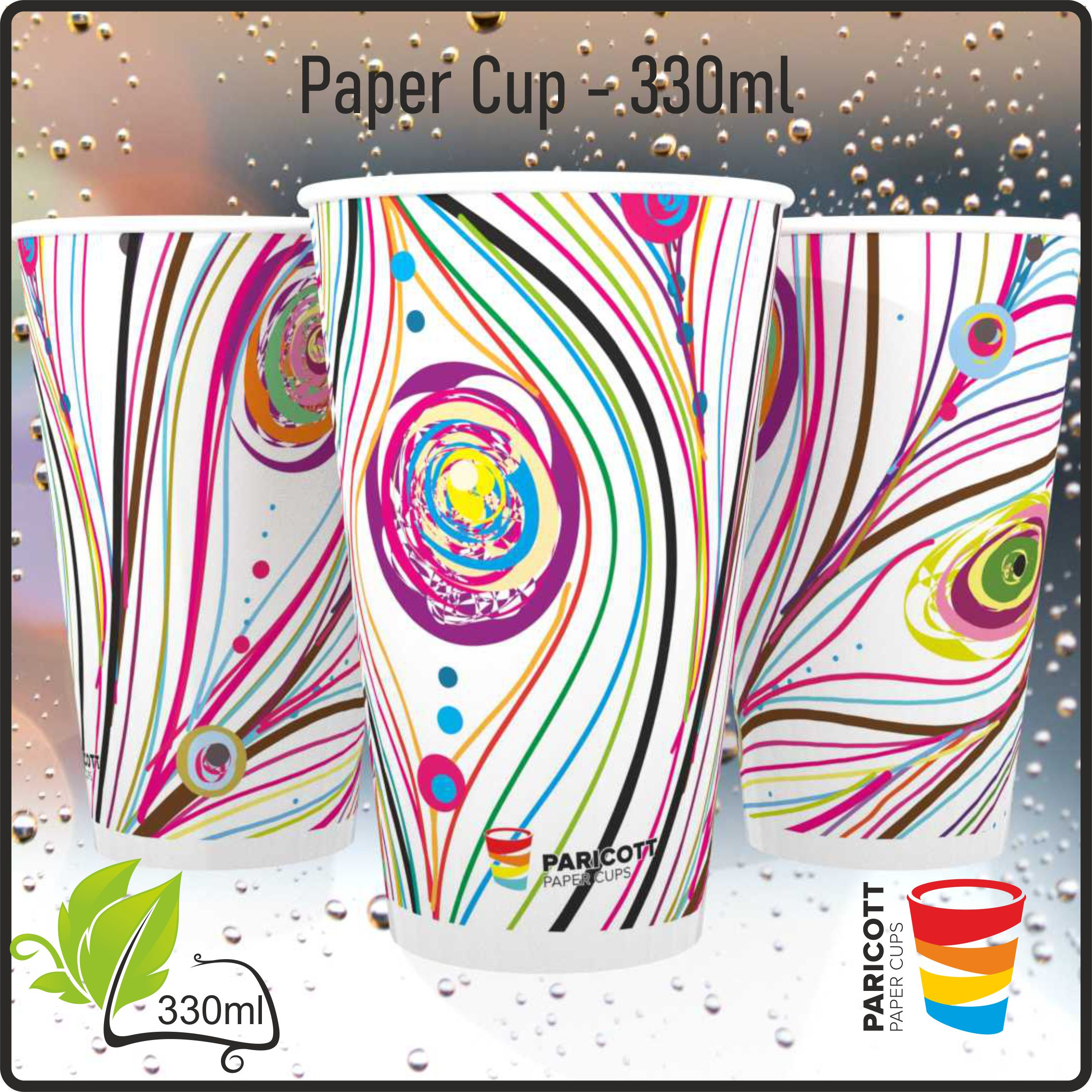 330ml Multi Color Mor Pankh Paper Cups (100)
