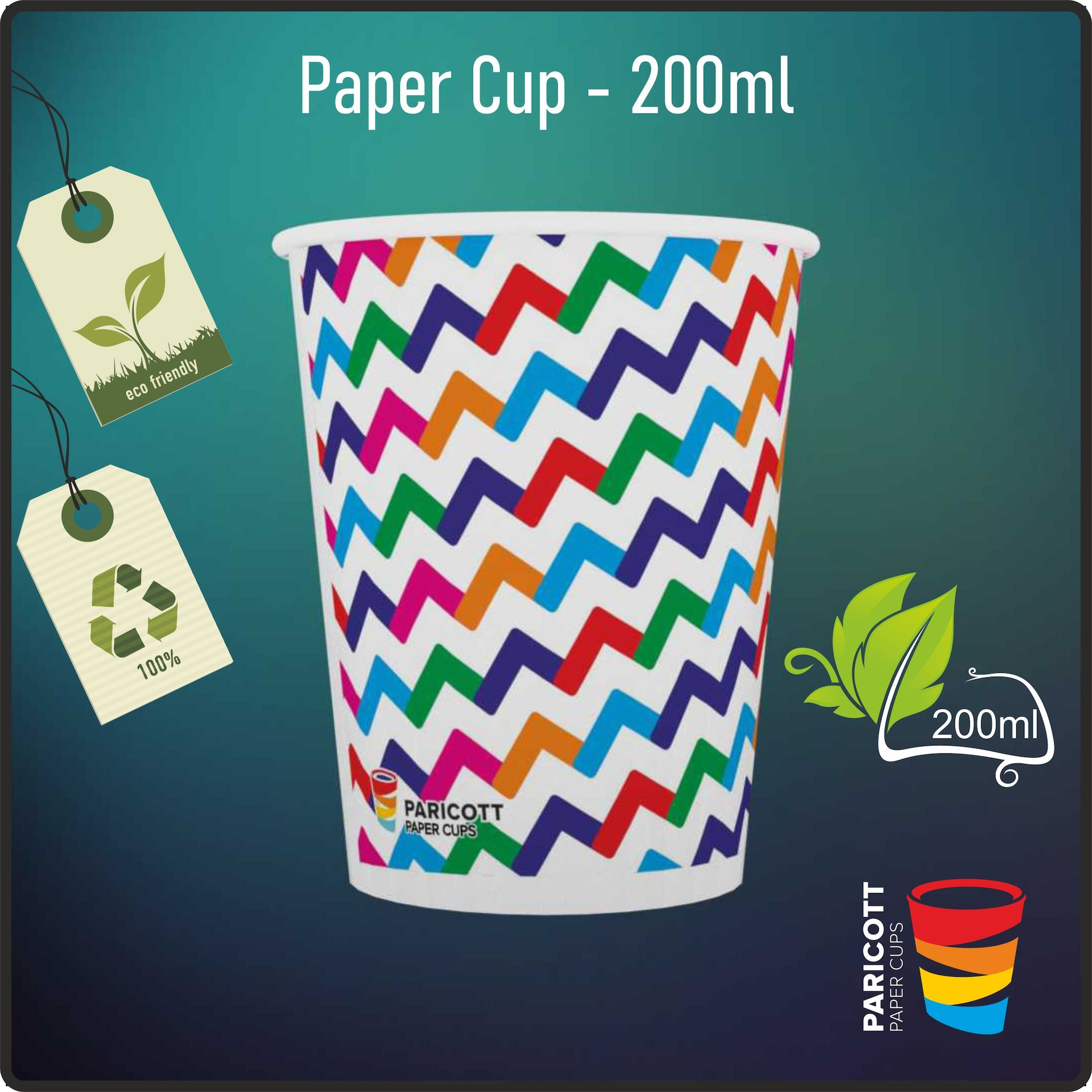 200ml Multi Color ZigZag Paper Cups (100)