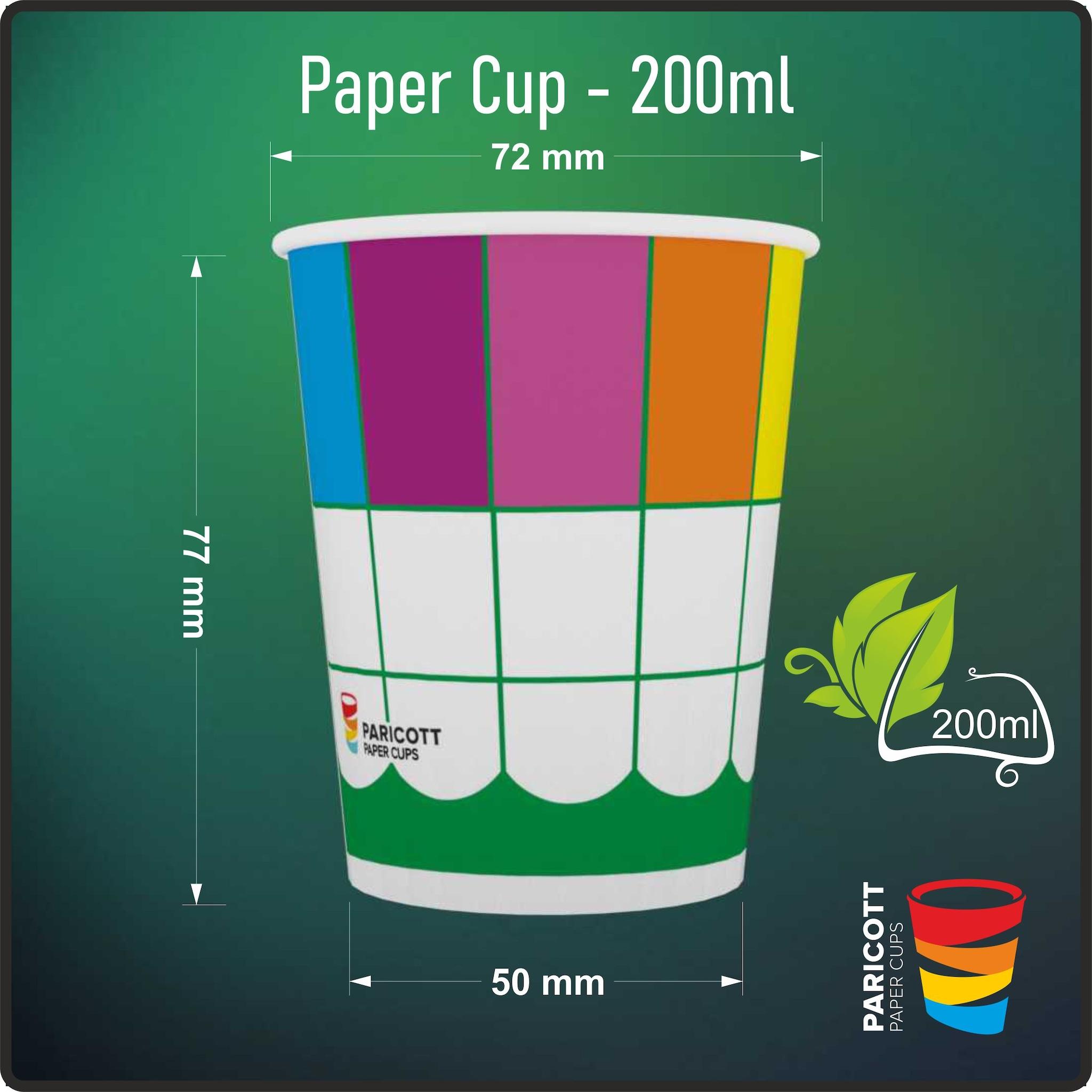 200ml Multi Color Square Paper Cups (100)