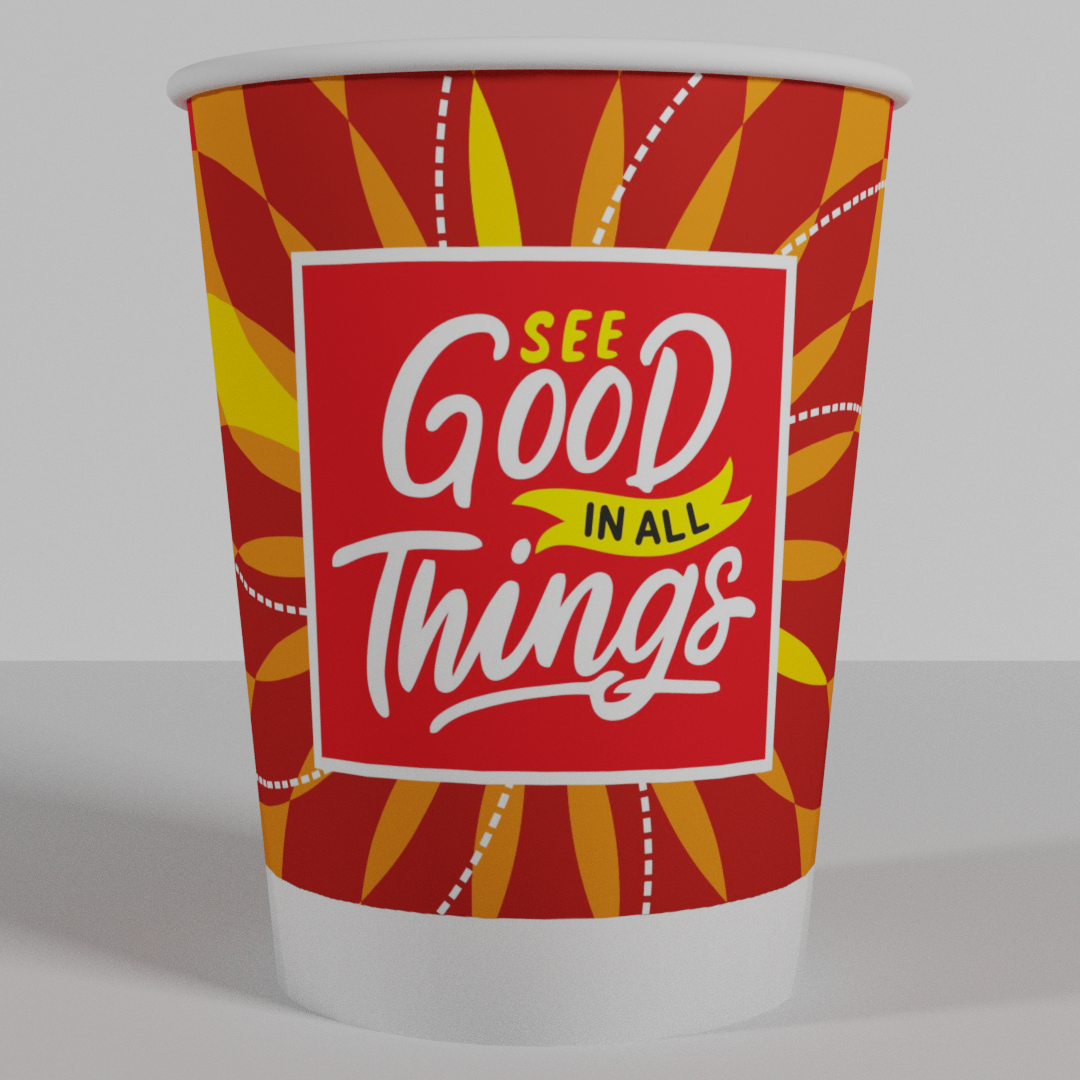 8Oz/240ml Multi Color Good Things Paper Cups (100)