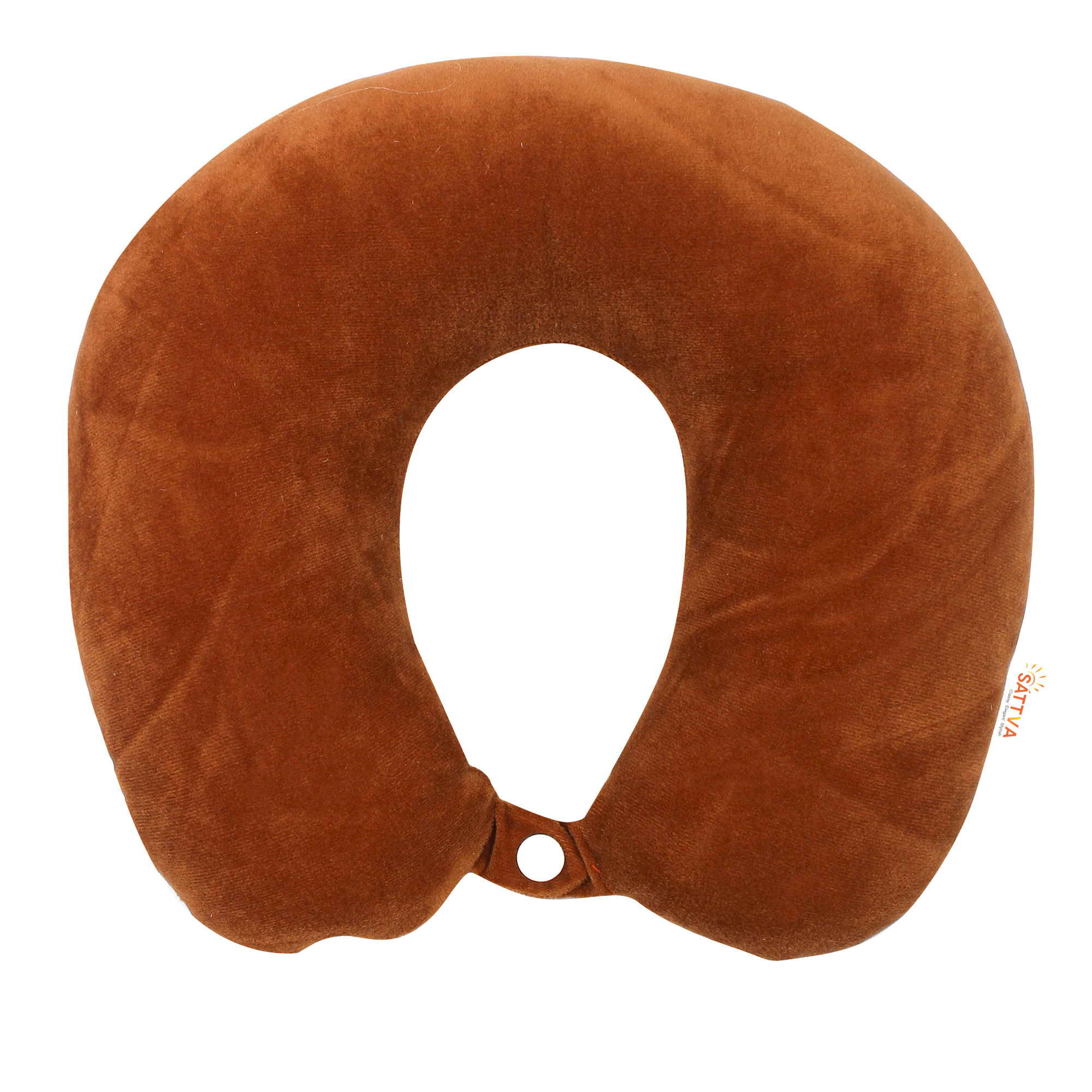 Sattva Travel Neck Pillow U Shaped Memory Foam Fabric Soft Pillow For Travel In Car,Bus,Train & Flight - Brown