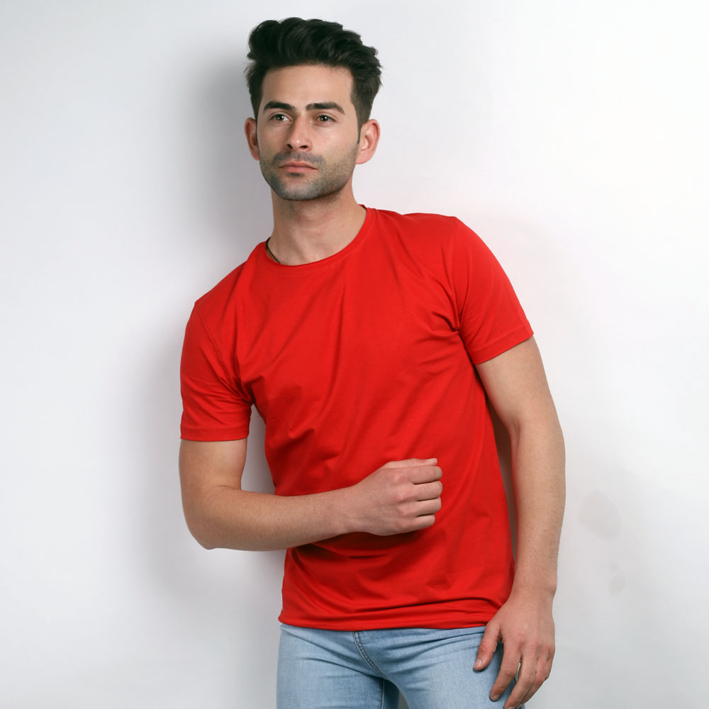 Red Round Neck Half Sleeve T-Shirt (XL)