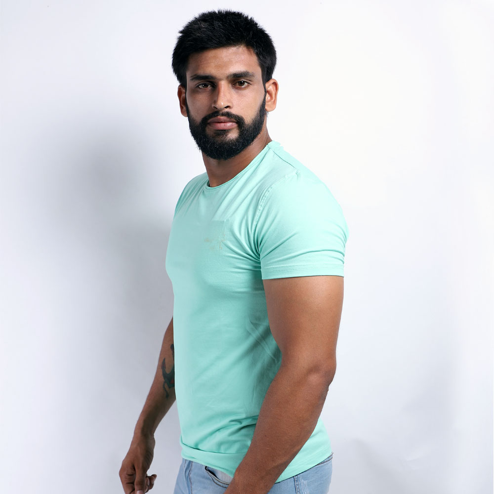 Light Green Half Sleeve Round Neck T-Shirt (L)