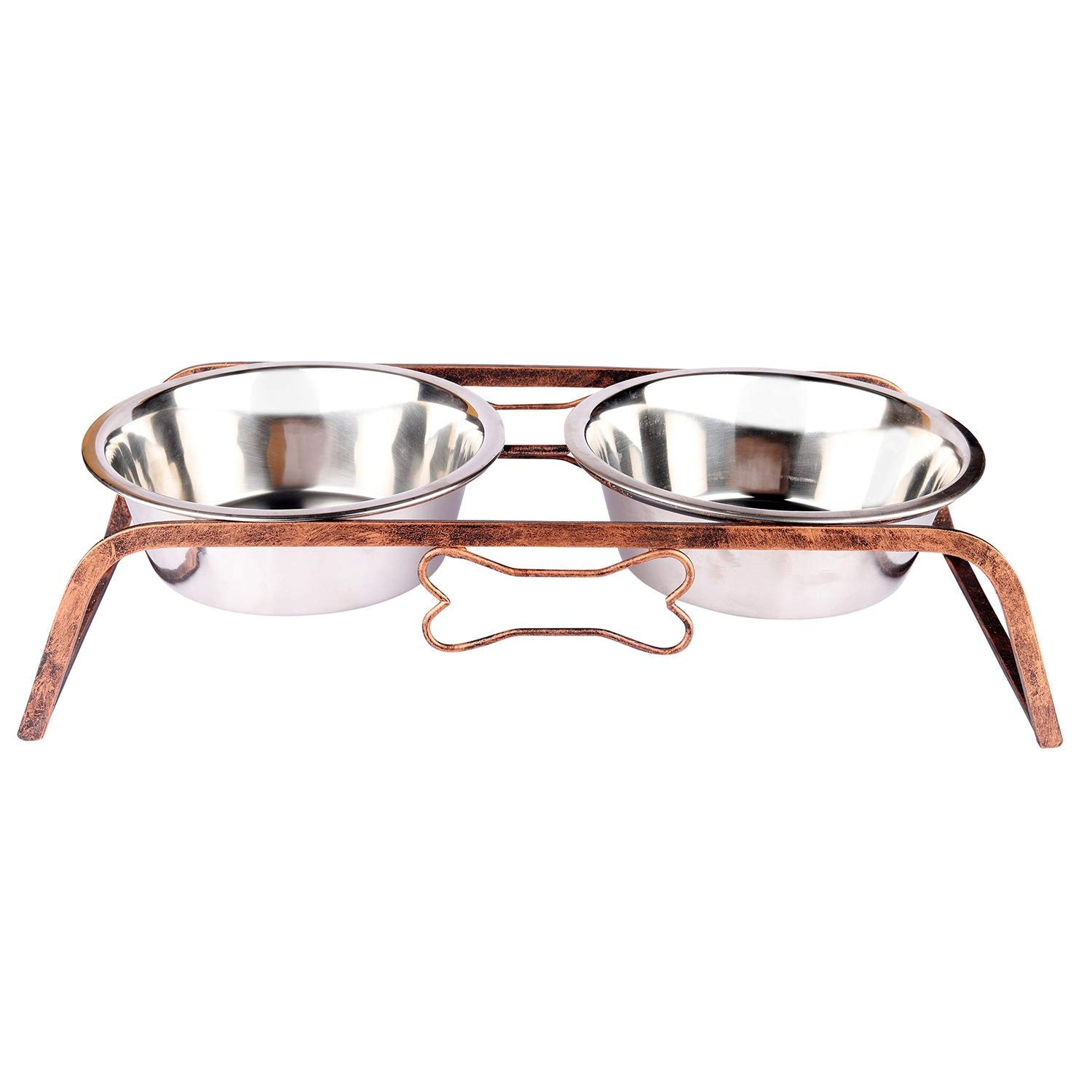 Pets Empire Wrought Iron Dog Bowl Stand Collection Rustic Bone Diner For Dogs And Cats Stainless Steel Food And Water Bowls With Iron Stand,Pack Of 1 (Medium (450 ML X 2 Bowl ))
