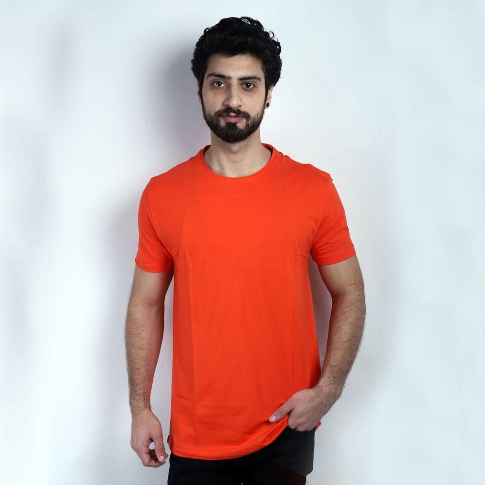 Orange Round Neck Half Sleeve T-Shirt (XL)