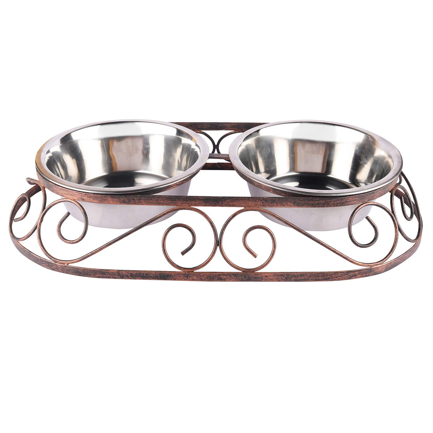 Pets Empire Dog Bowl Rustic Oval Shape Diner For Dogs And Cats Stainless Steel Food And Water Bowls With Iron Stand.Pack Of 1 (Medium (450 ML X 2 Bowl ))