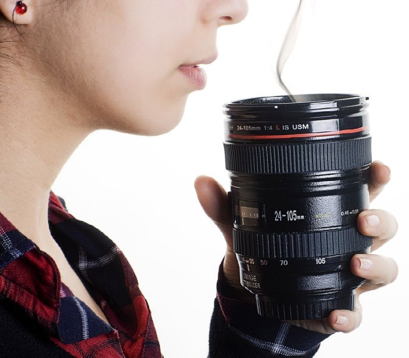 Camera Lens Coffee Mug Flask With Cookie Holder (Medium)