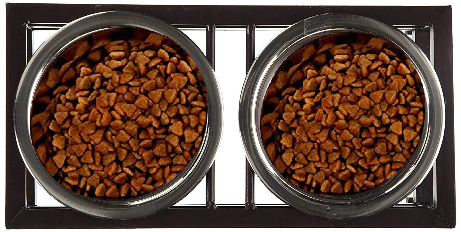 Pets Empire Pet Feeder For Dog Cat, Stainless Steel Food And Water Bowls With Iron Stand,Pack Of 1 (Medium (450 ML X 2 Bowl ))