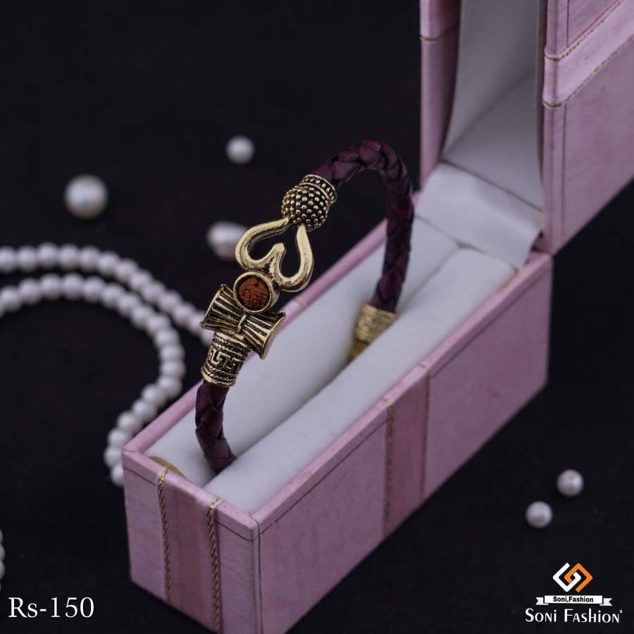 Om With Damroo Brown Leather Bracelet For Men