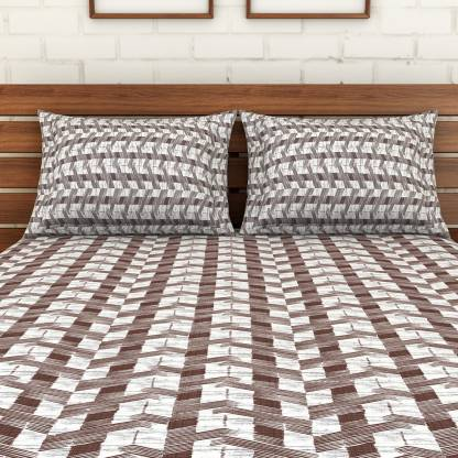 SPACES Cotton Abstract Double Bedsheet (Double, Chocolate Brown)