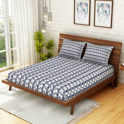 SPACES Cotton Abstract Double Bedsheet (Double, Navy Blue)