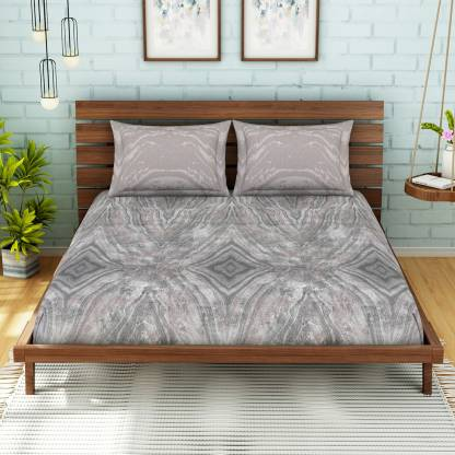 SPACES Cotton Abstract King Size Bedsheet (King Size, Mauve)