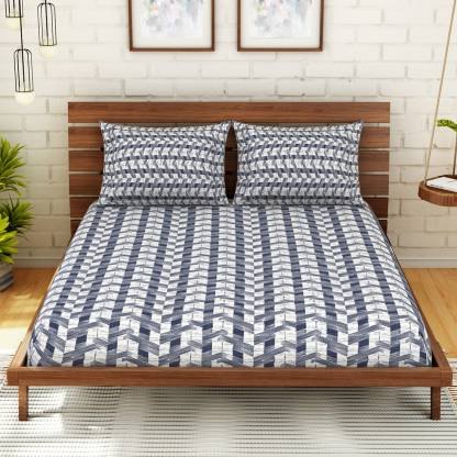SPACES Cotton Abstract Double Bedsheet (Double,Navy Blue)