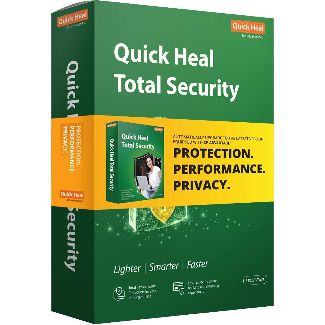 Quick Heal Total Security For Identity Protection, Internet Security, Secure Online Banking And Robust Protection For Your PC. 3PC/3YEAR