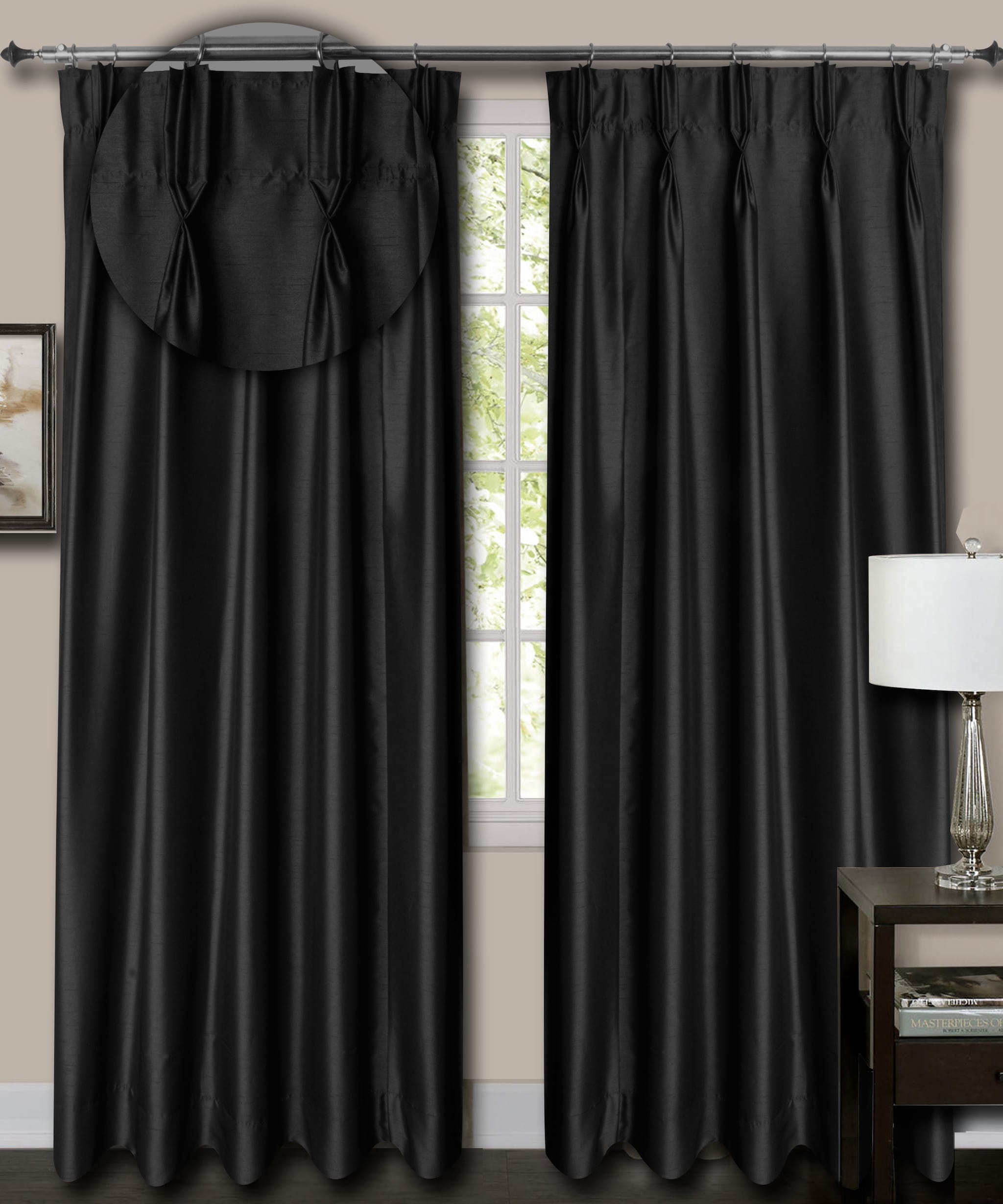 """French Pleat Top Black Faux Silk Dupioni Curtains. (52"""" Wide,12 Feet Long,Blackout Lining)"""