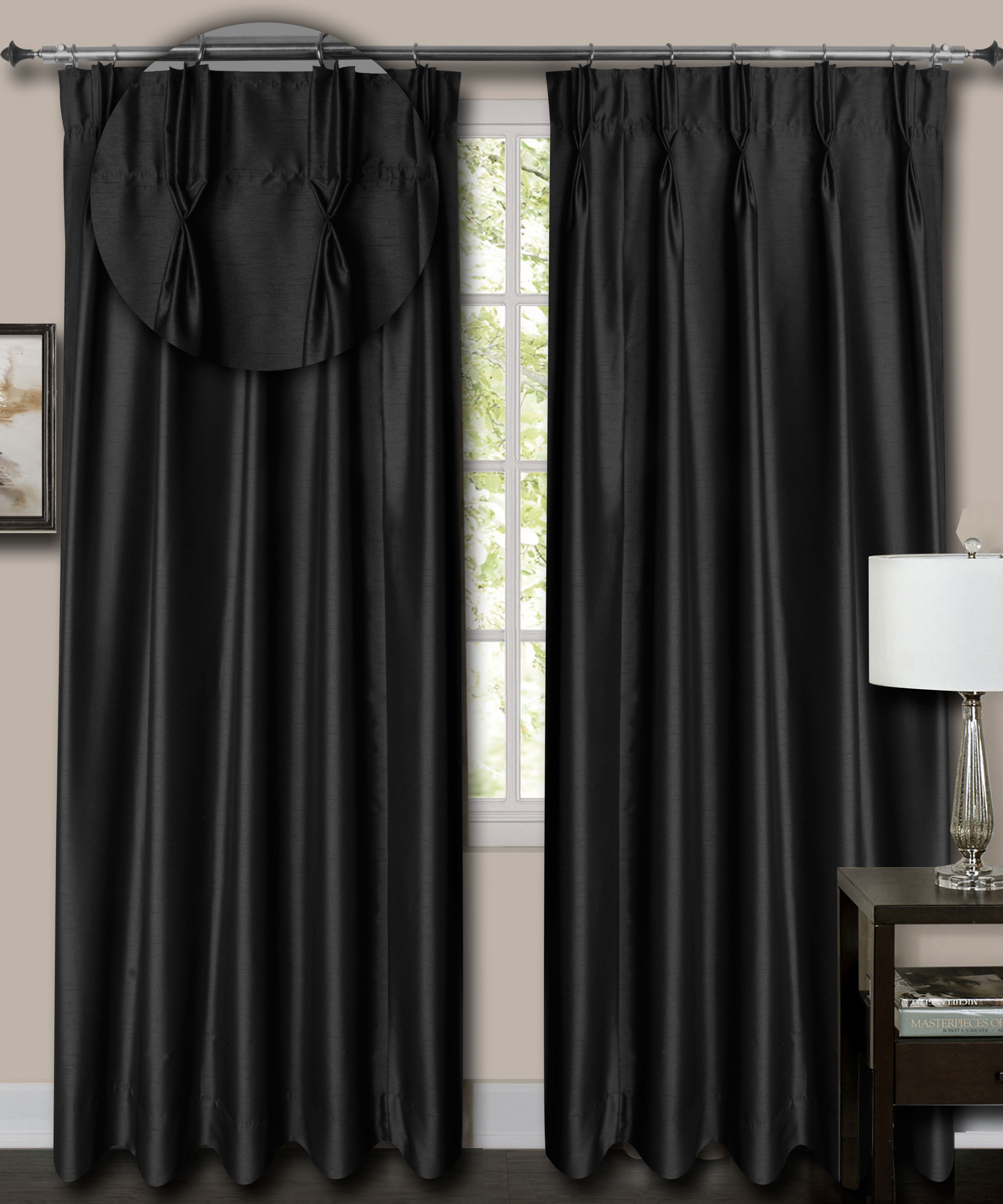 "French Pleat Top Black Faux Silk Dupioni Curtains. (65"" Wide, 7 Feet Long, Thick Lining)"
