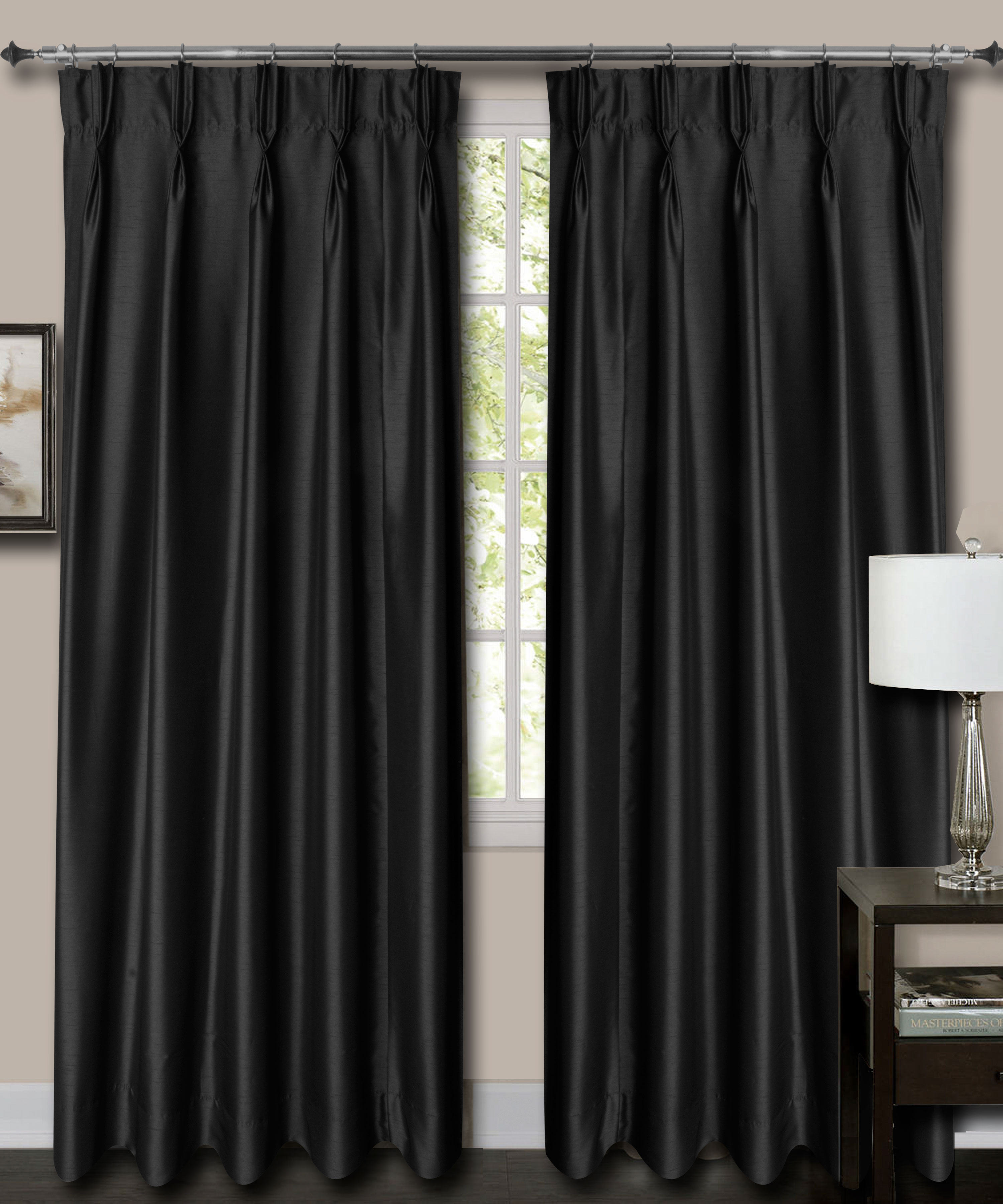 """French Pleat Top Black Faux Silk Dupioni Curtains. (65"""" Wide, 9 Feet Long, Blackout Lining)"""