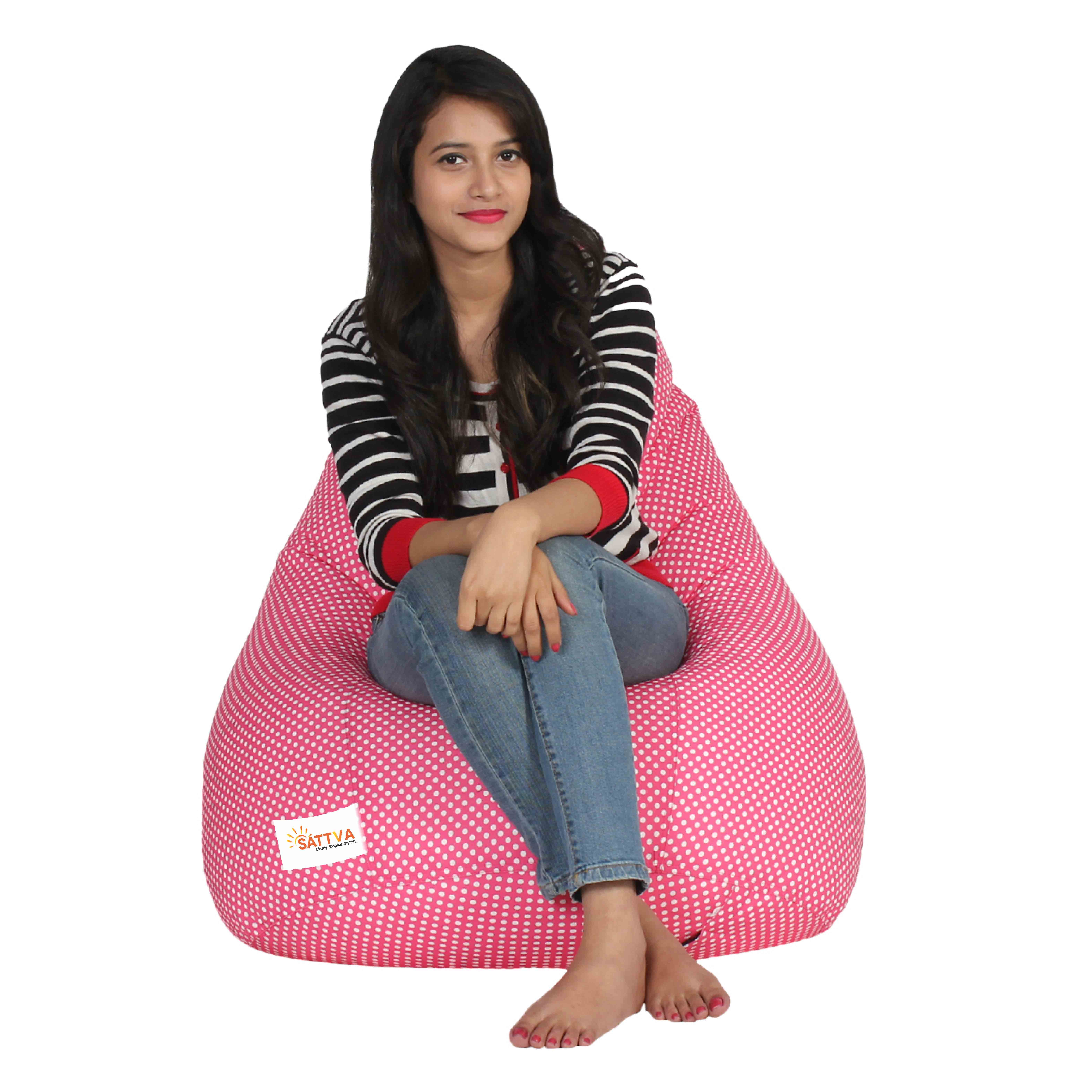 Sattva Classic XXL Bean Bag Pink Polka-With Beans