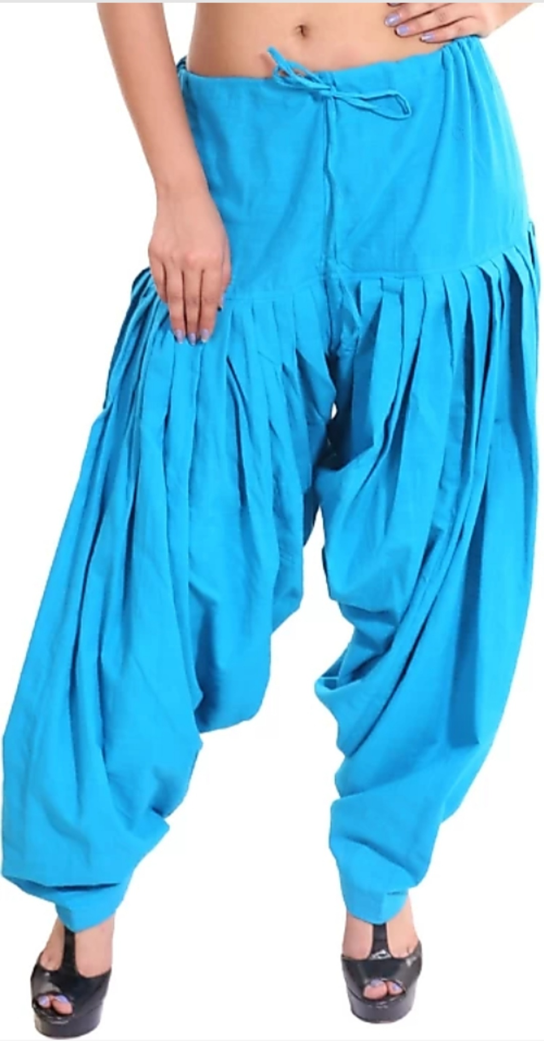 Samridhi Collections Women's Cotton Patiyala (Sky Blue)