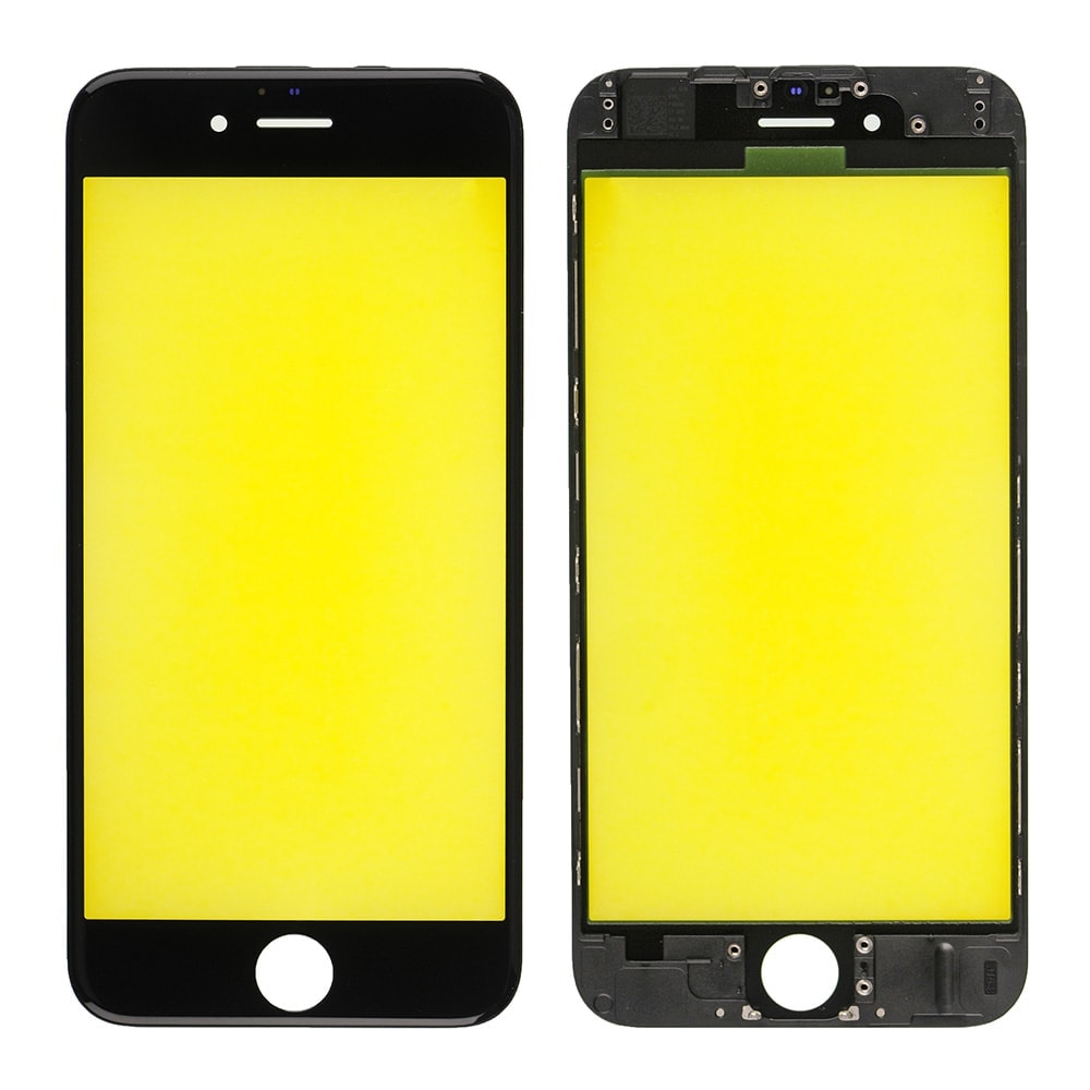 REPLACEMENT FOR IPHONE 6 FRONT GLASS WITH COLD PRESSED FRAME - BLACK