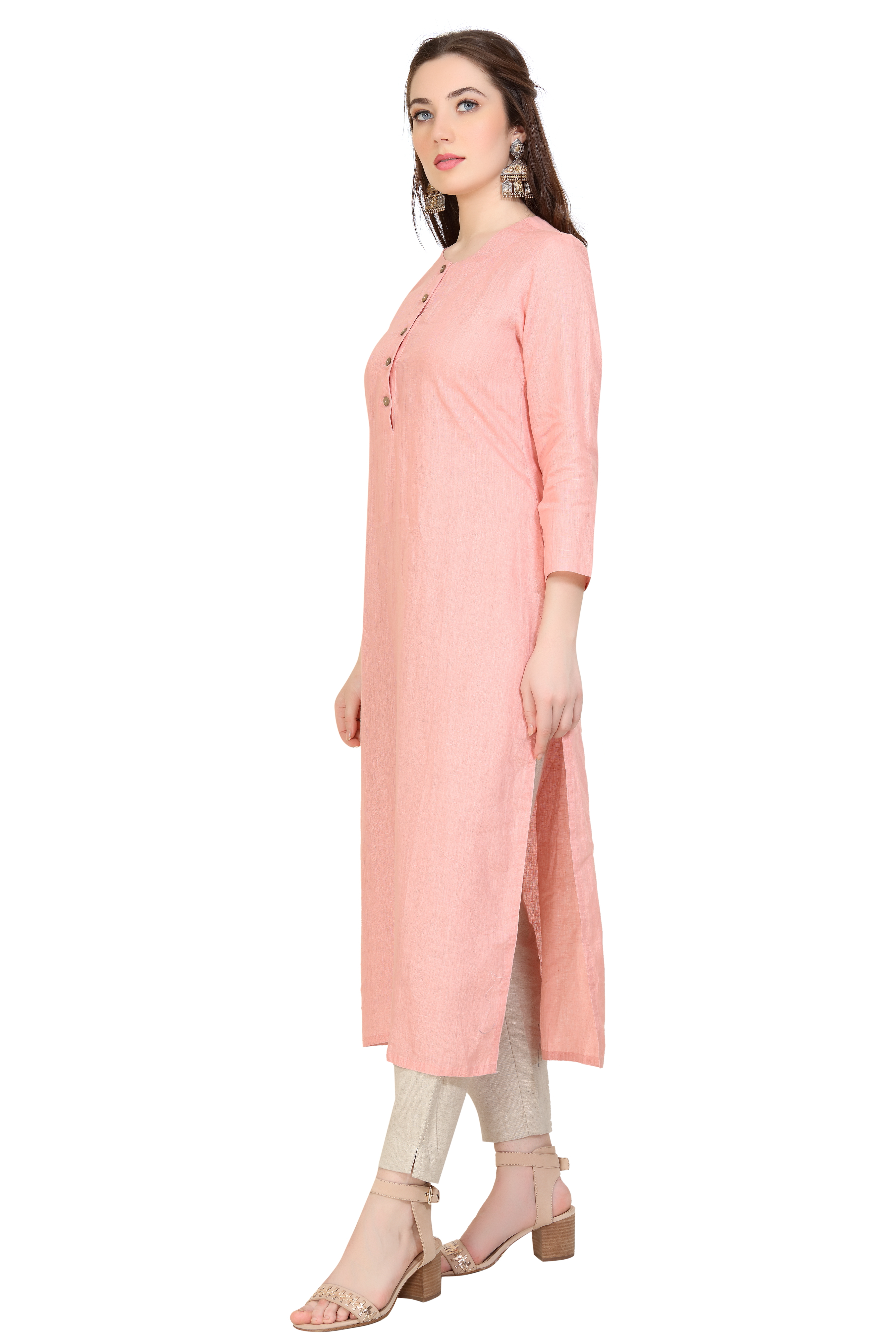 150249 Solid Carrot Straight Linen Tunic XS - Carrot (L,Carrot)