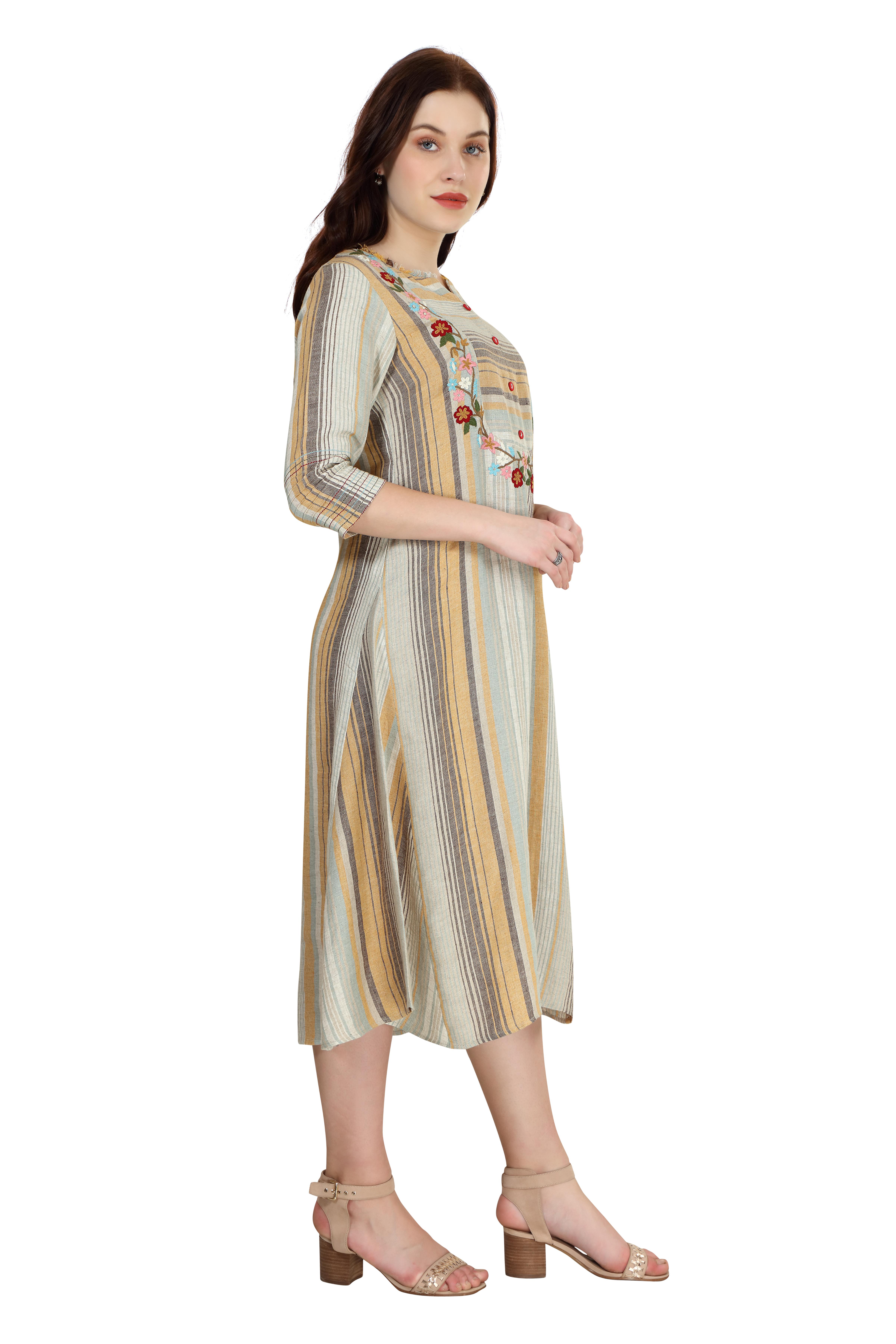 202027 Mustard Engineered Stripe Yolk Embroidered Linen Dress XS - Mustard (L,Mustard)