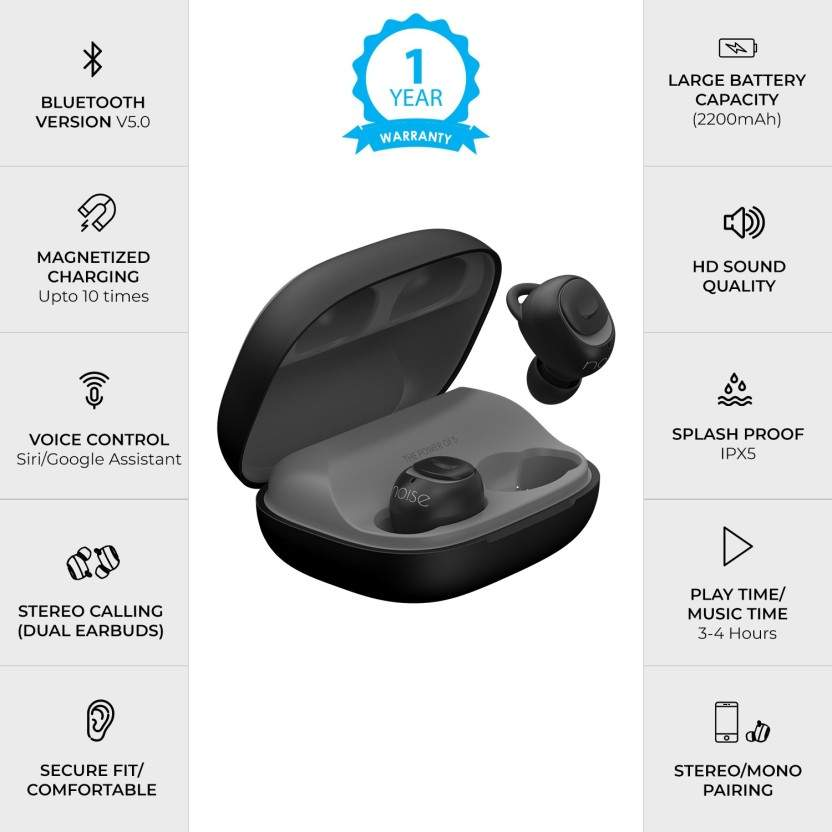 Noise Wireless Bluetooth Earbuds With Charging Case Bluetooth Headset With Mic (Black, Grey, In The Ear)