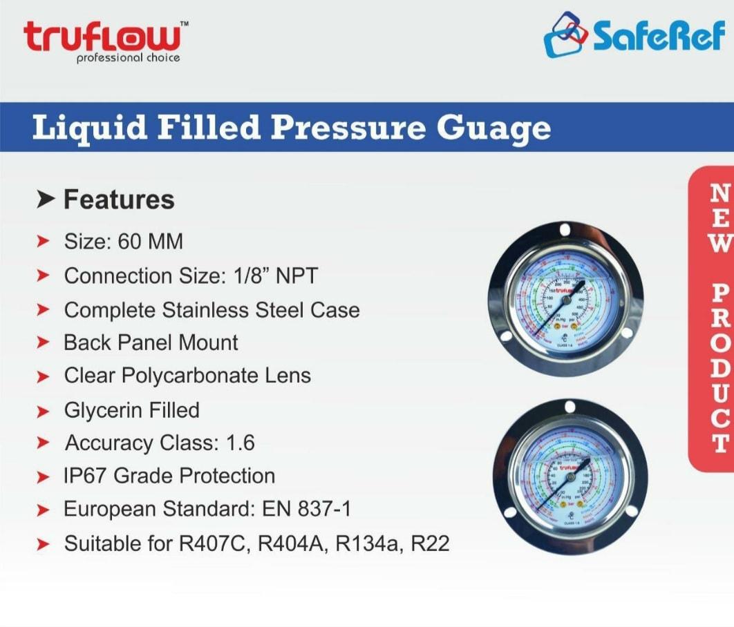 TRUFLOW PRESSURE GUAGE (GLYCERIN FILLED)(-30 TO 500PSI)
