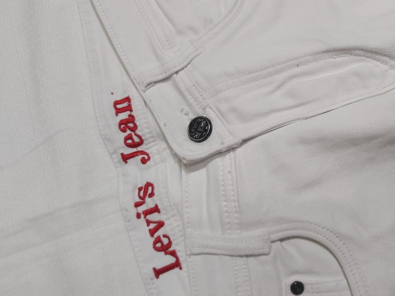 MEN'S JEANS LJ01 WHITE COLOR SOLID NARROW FIT HEAVY JEANS (30)