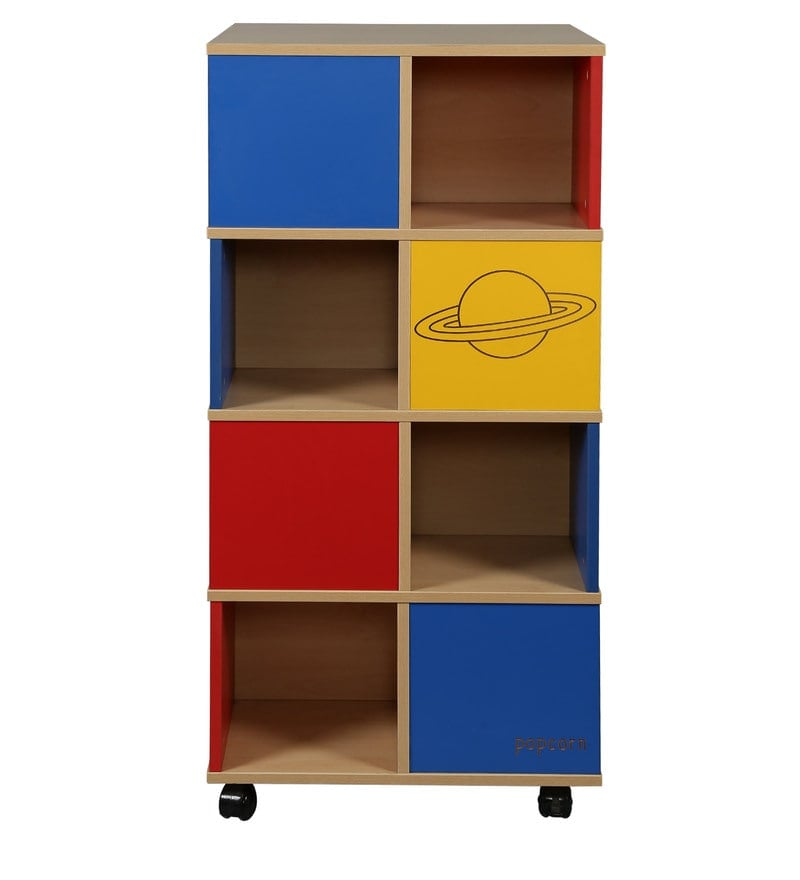 Space Theme Book Shelf With Wheels In Multicolour