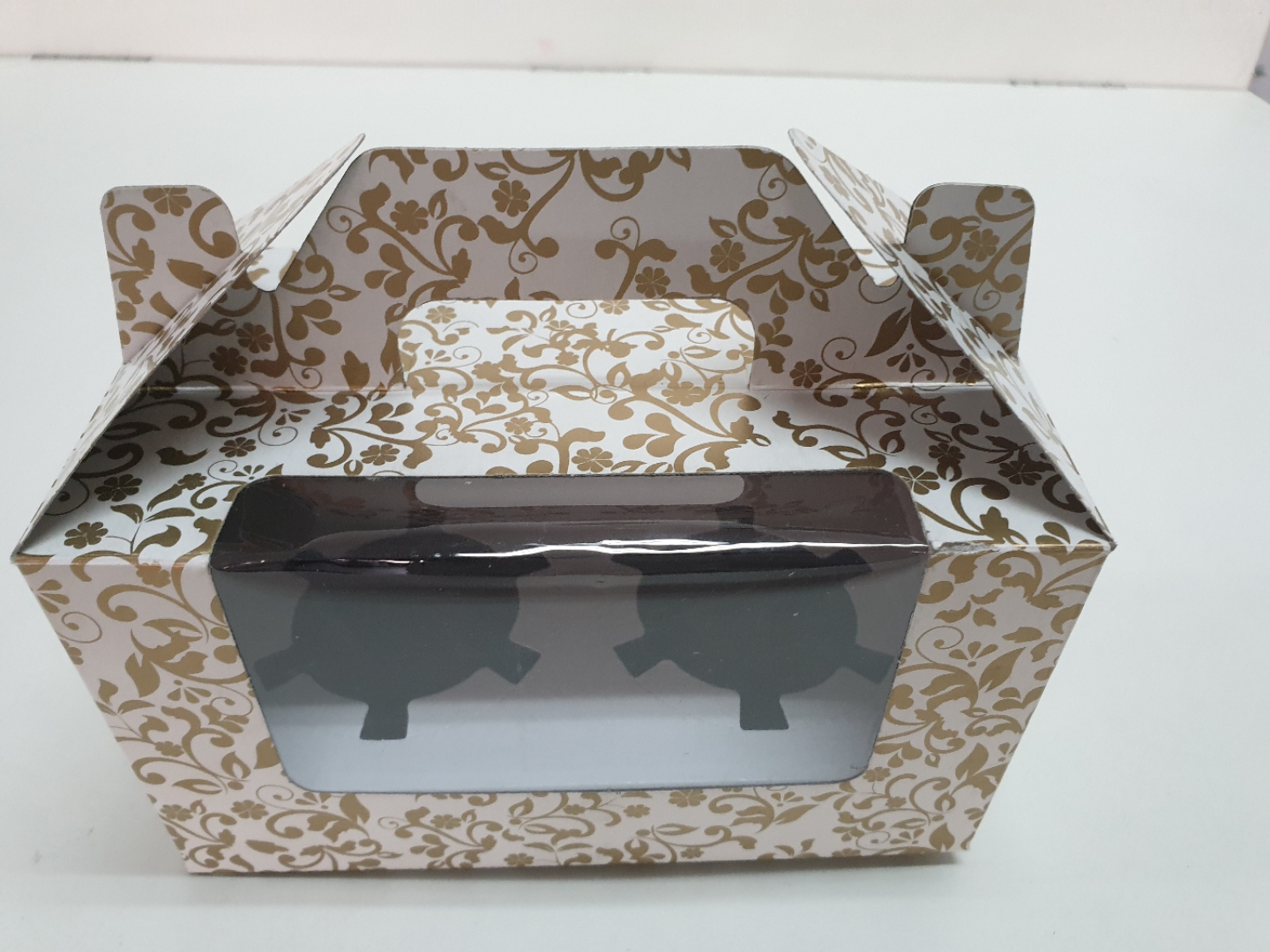 Gold & Silver Muffin Box( 2 ) With Handle