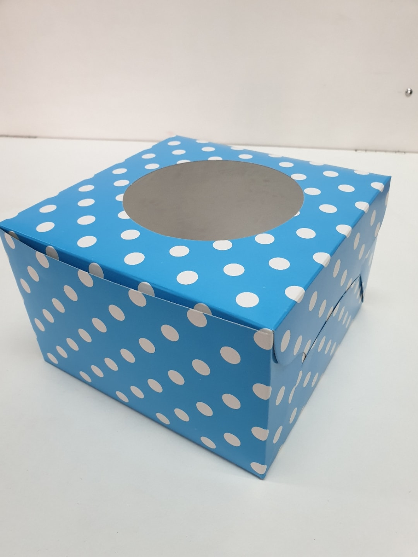 Blue Clr PolkaDot Cake Box 8x5