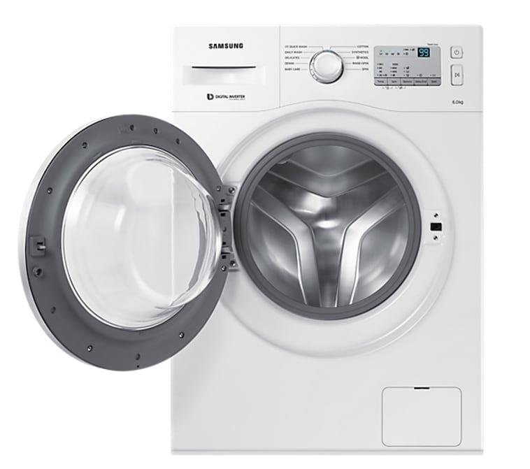 Samsung 6 Kg Fully-Automatic Front Loading Washing Machine (WW60M206LMA/TL, White)