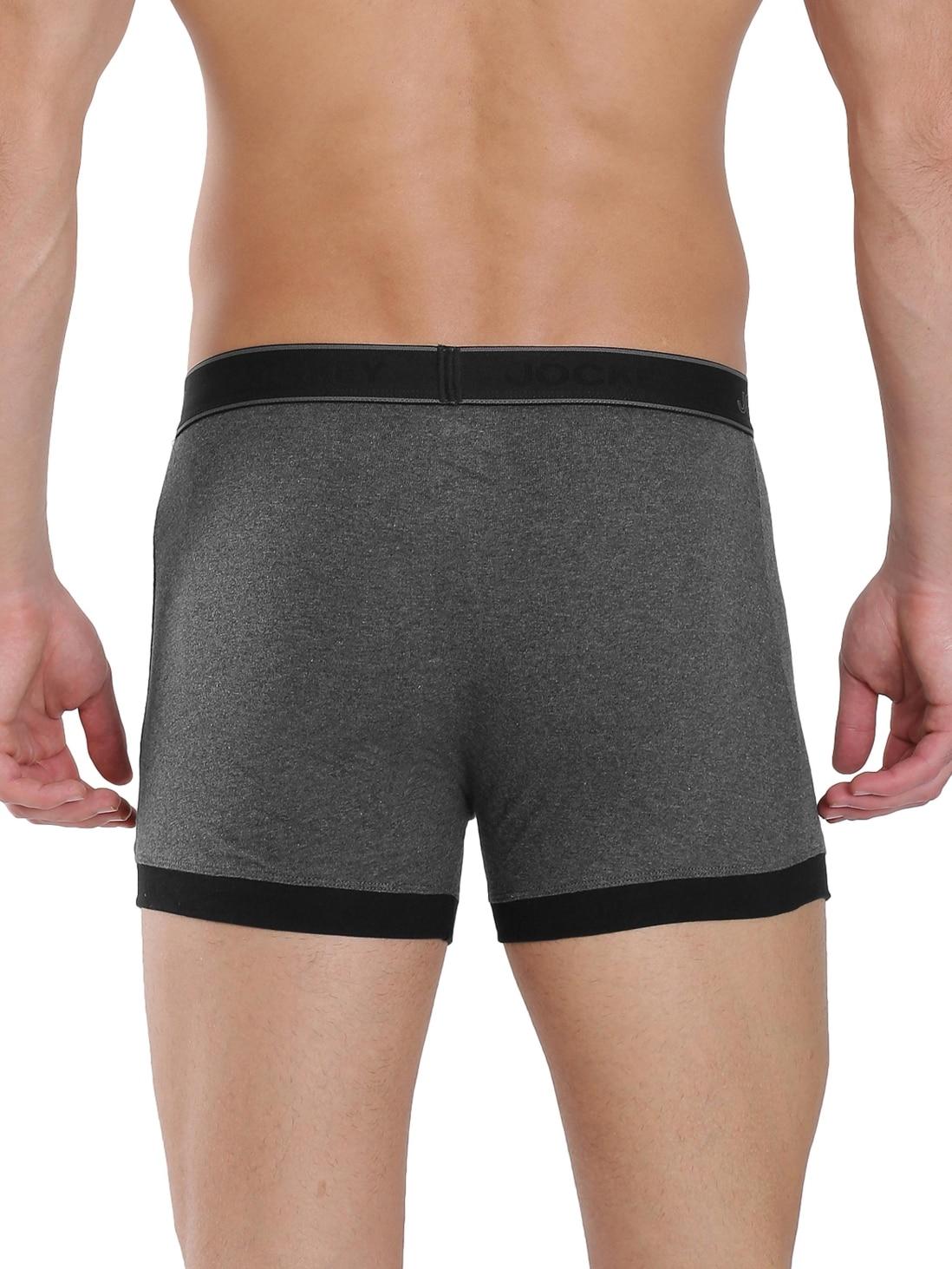 Jockey Men's Charcoal Melange Fashion Trunk (L,Charcoal Melange)