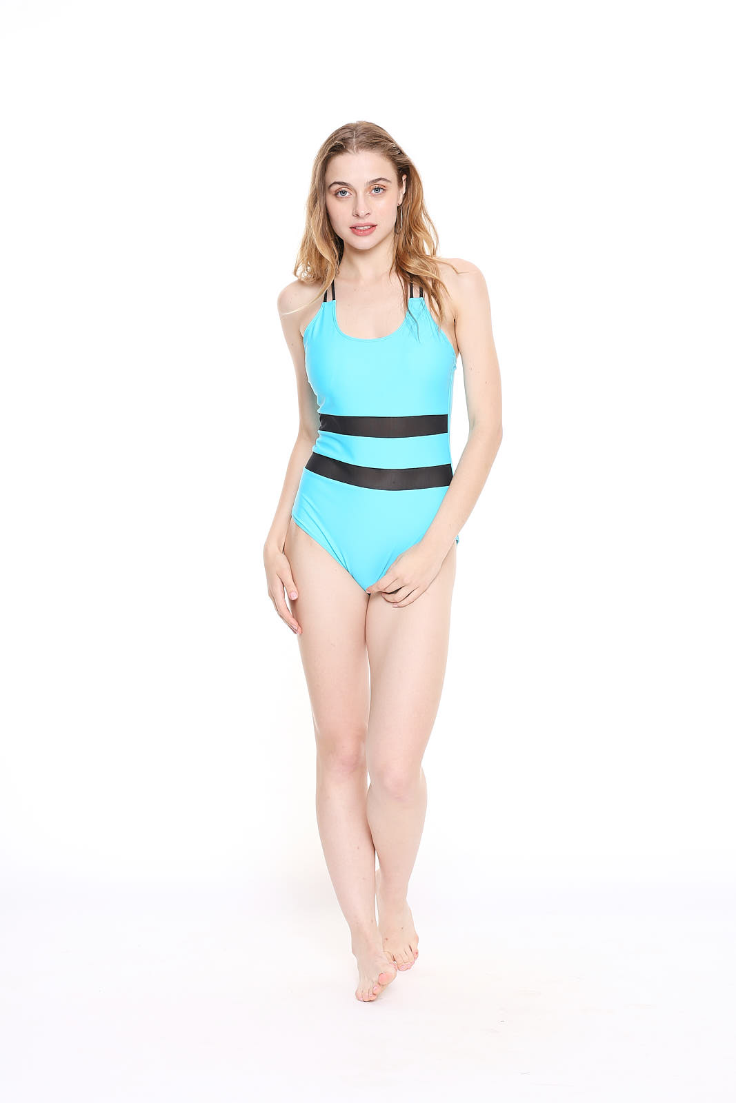 TURQUOISE MESH CROSSBACK SWIMSUIT Turquoise - XS - Body Fit (Turquoise, S, Body Fit)