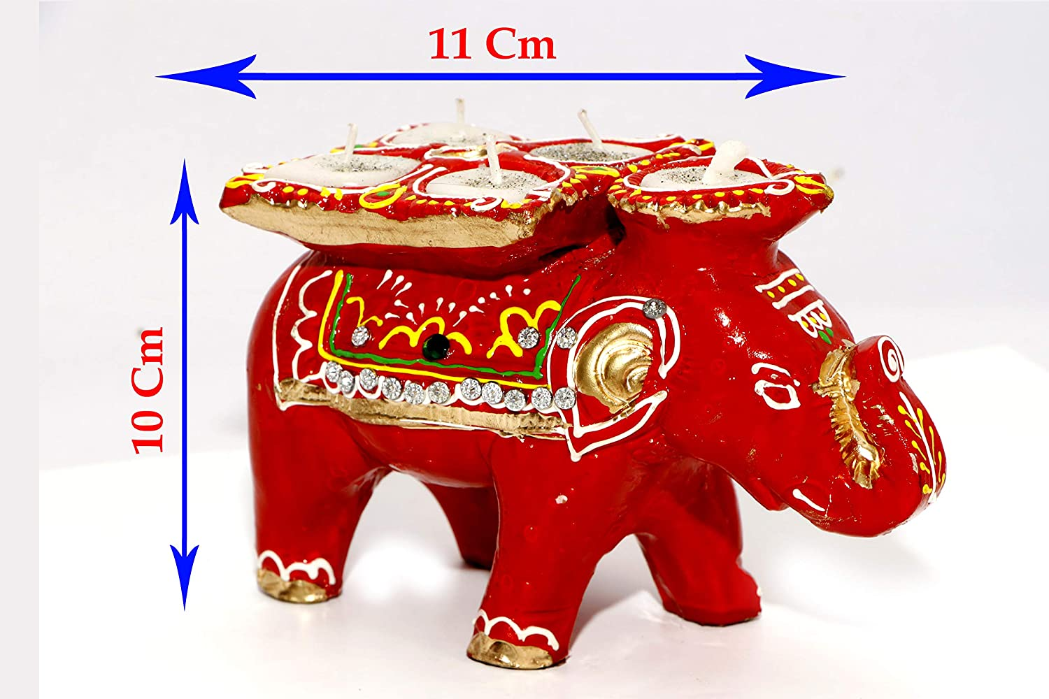 Tiny Souls Clay Decorative Diya Elephant Diwali Diya Puja Thali |Festivals Diya|Decorative Diya|Terracotta Elephant Diya Set Of 2 In Box (2)