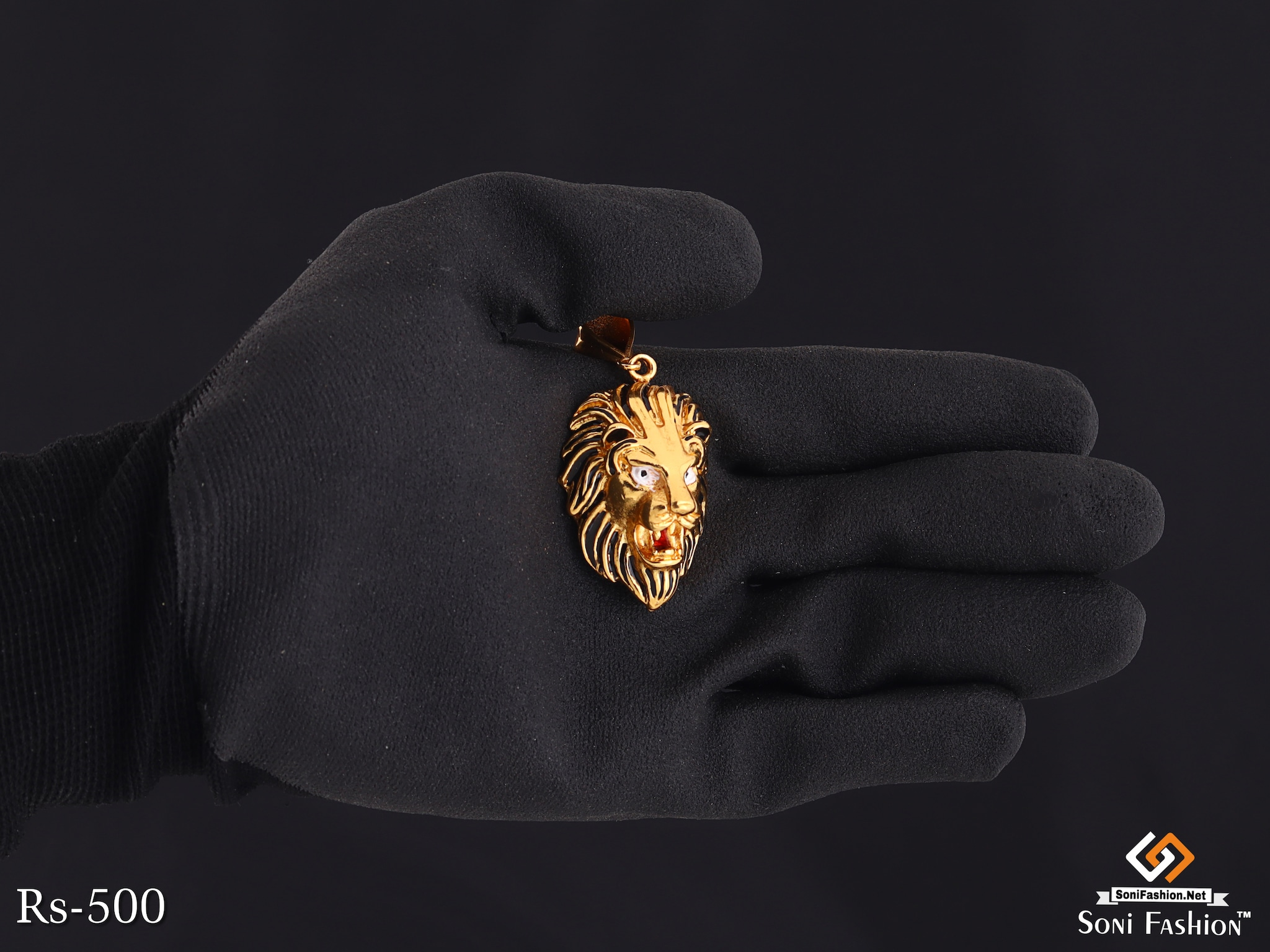 Gold Plated Lion Face Pendant With Black Design