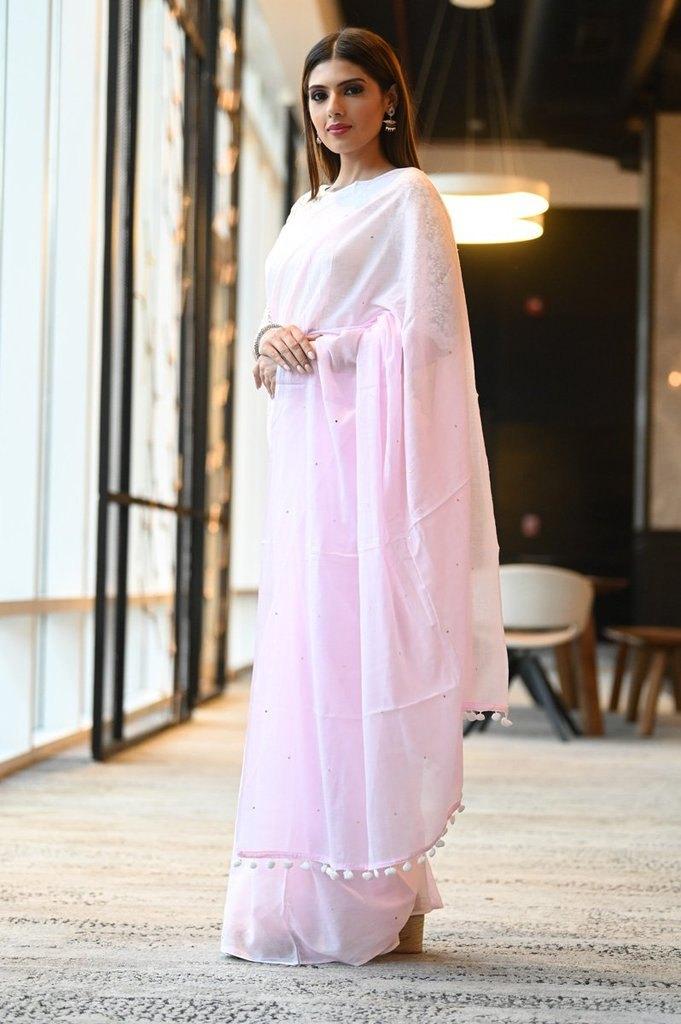Pink Shade Handwoven Cotton Mulmul Saree With Mukaish Work