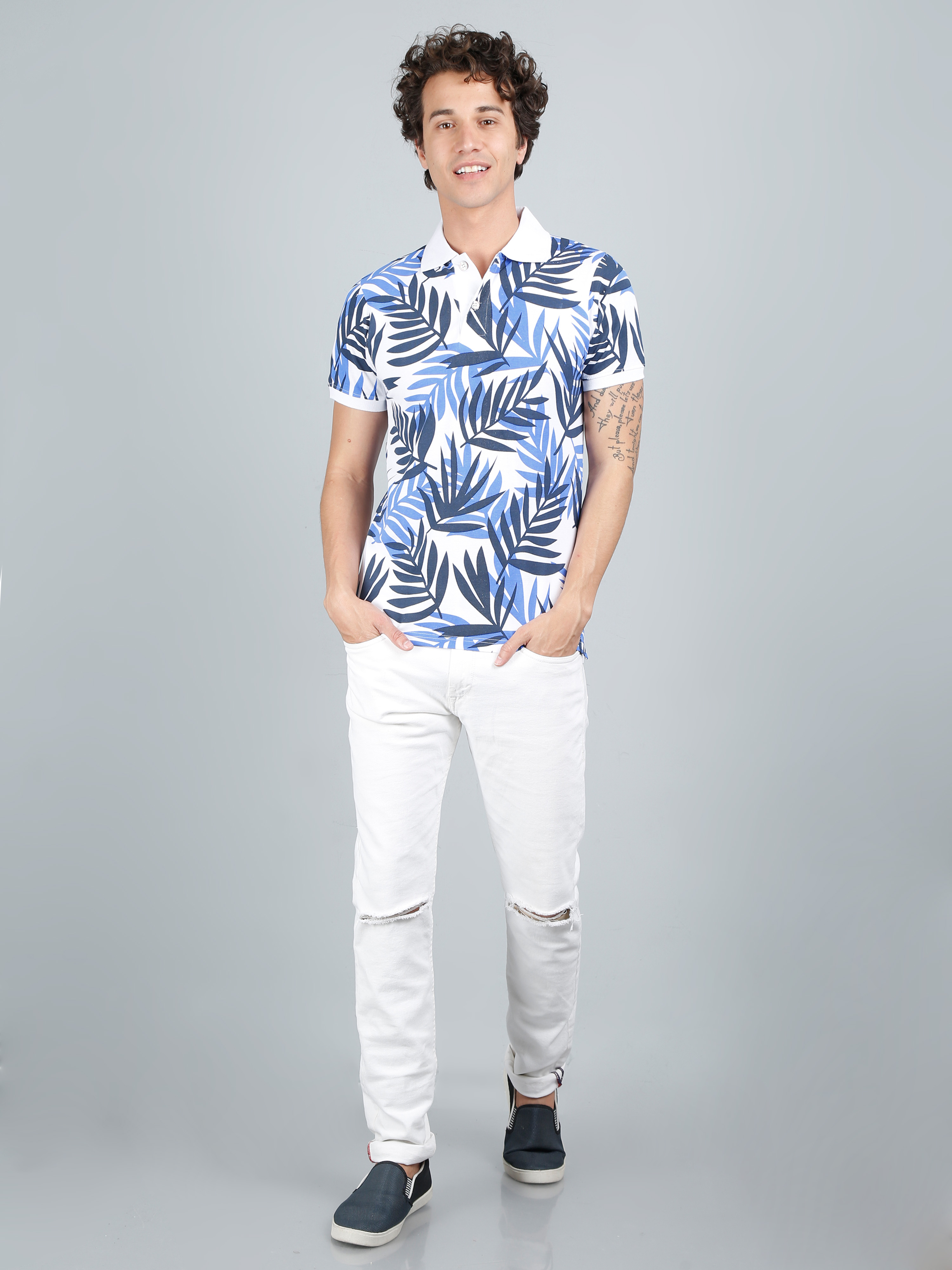 All Over Printed Polo T-shirts | White Lefe | AeroFinch
