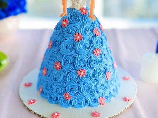 White & Blue Barbie Doll Cake