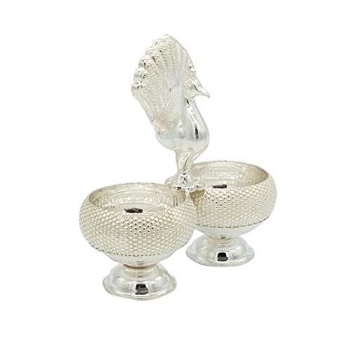 Silver Haldi Kumkum Round Box With Dot Design Peacock In Between (40gm)