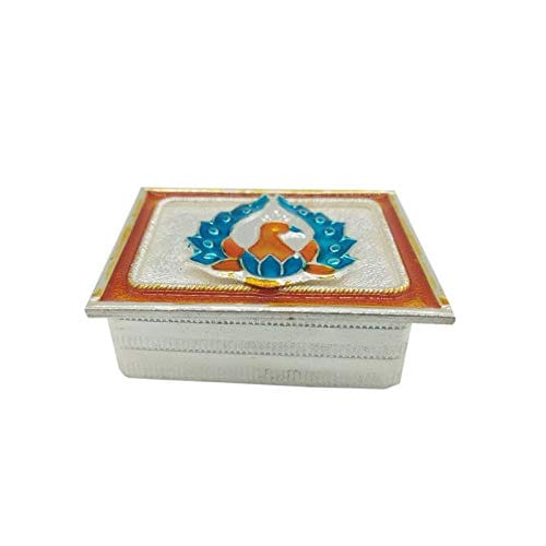 Silver Haldi Kumkum Peacock Rectangle Box