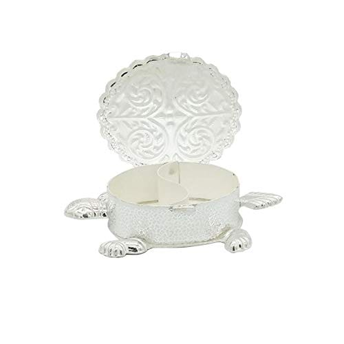 Silver Haldi Kumkum Tortoise Shape Box With Line Design (30gm)