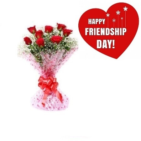 Friendship Day Gift Of Fresh Flower Bouquet (Bunch Of 8 Red Roses) - FFBUFRD100 (Afternoon (12PM,03PM))