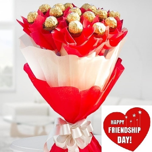 Friendship Day Gift Of Fresh Flower Shape Chocolate Arrangement - FFARFRD115 (Morning (09AM,12PM))