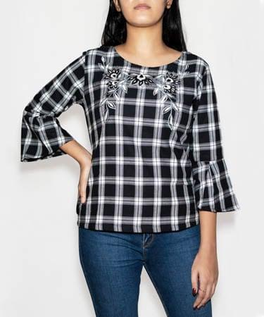Infeel Black & White Checks Top (XL,Black & White Checks)